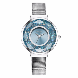 Image 2 - YOLAKO Women Stainless Steel Mesh Belt Moving Diamond Watch Luxury Ladies Quartz Rhinestone Watches Clock Relogio Feminino