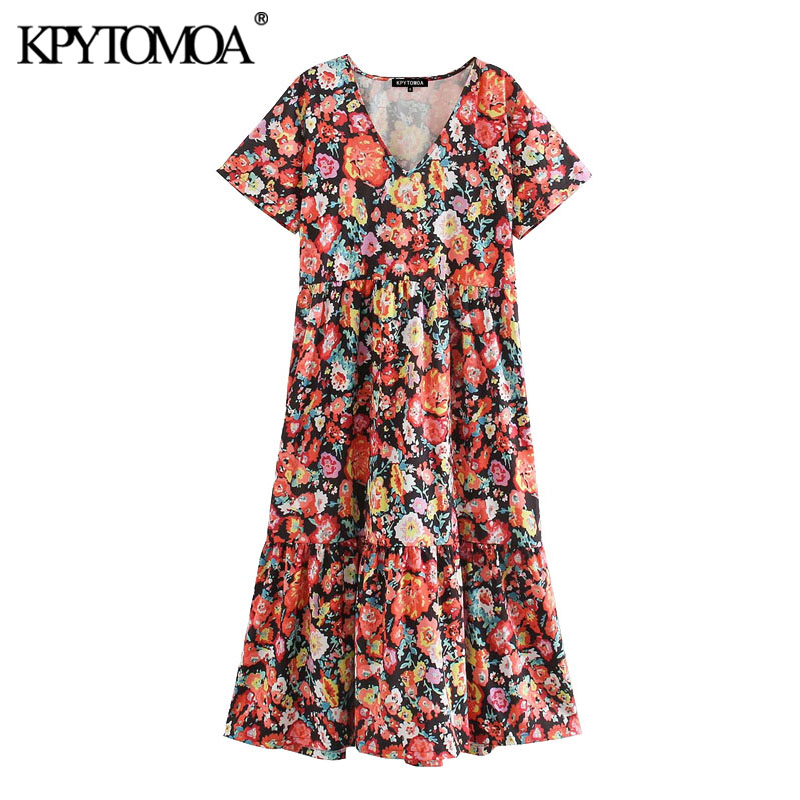 KPYTOMOA Women 2020 Chic Fashion Floral Print Pleated Midi Dress Vintage V Neck Short Sleeve Female Dresses Vestidos Mujer