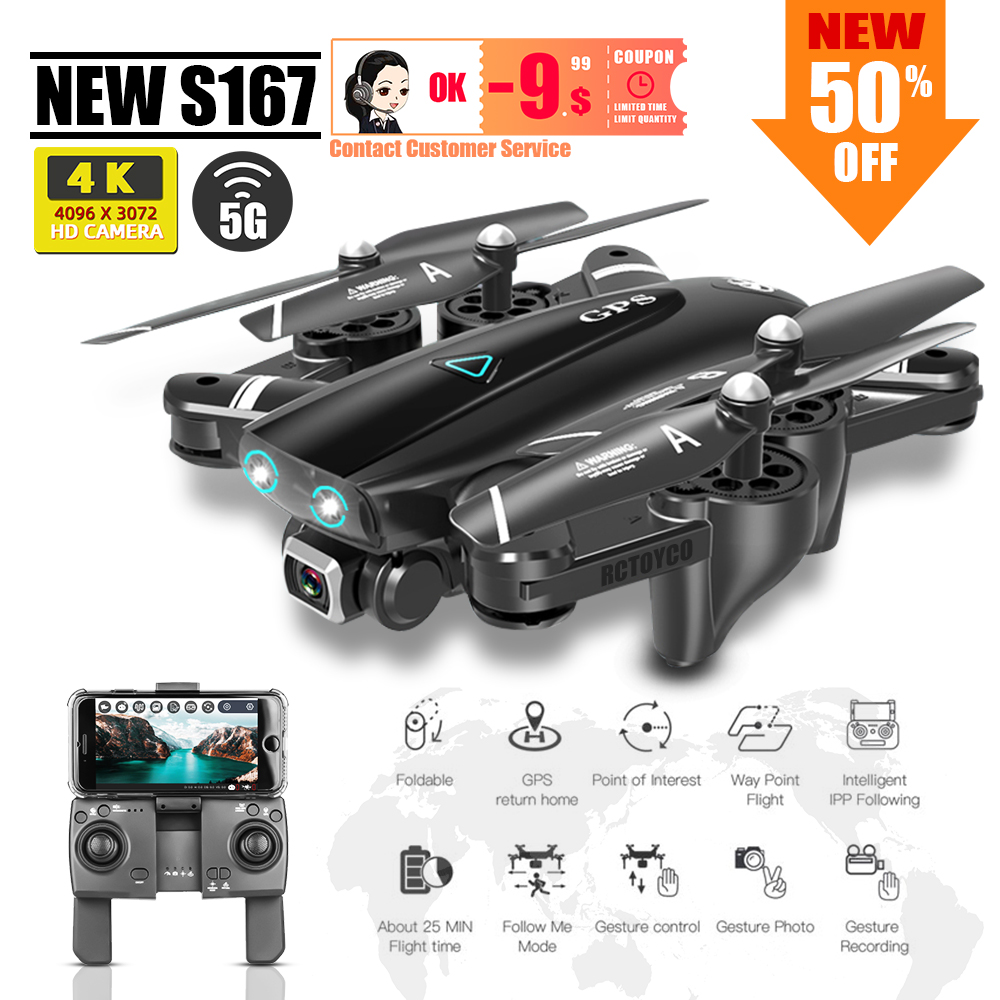 Quadrocopter 4K Dron Drone Profissional Toys Drones Gps/No Gps Selfie Rc Helicopter With Camera S167 드론 For Kids VS  SG906 X8