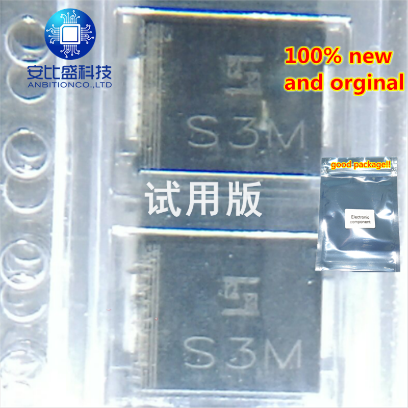 25pcs 100% New And Orginal S3M 3A1000V DO214AB Silk-screen S3M In Stock