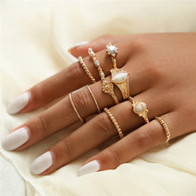 ZORCVENS Vintage Gold Color Knuckle Rings Set For Women White Stone Twist Flower Finger Ring Female Fashion Jewelry