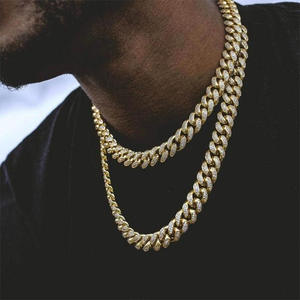 Necklace Jewelry Link-Chain Rhinestone Hip-Hop Iced-Out Bling Men's Golden CZ Clasp Paved