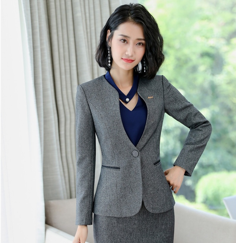 Female Elegant Formal Office Work Wear Women Blazers and Jackets Work Wear Ladies Business Outerwear Clothes OL Styles Navy Blue