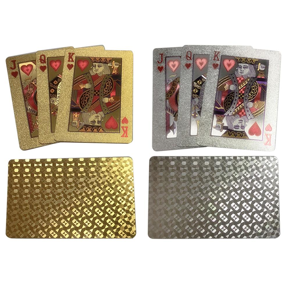 Gold Silver Playing Cards Poker Game Deck Gold Foil Poker Set Plastic Magic Card Waterproof Cards Magic Team Games Blackjack 2