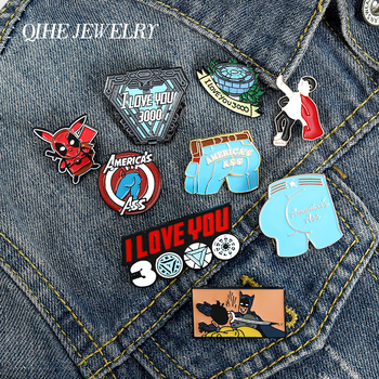 QIHE JEWELRY Hero theme enamel pins I LOVE YOU 3000 Captain ass brooches badges Dream of saving the world Heroism friends gifts платье dream world dream world mp002xw0tob7
