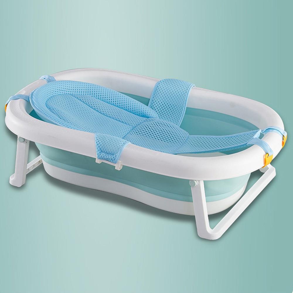 Newborn Baby Folding Bath Tub Pillow Seat Mat Cross Shaped Non-slip Baby Bath Net Mat Kids Bathtub Shower Cradle Bed Seat