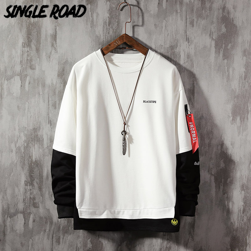 SingleRoad Oversized Crewneck Sweatshirt Men Spring Patchwork Hip Hop Japanese Streetwear White Hoodie Men Sweatshirts Hoodies