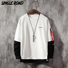 SingleRoad גדול צווארון עגול סווטשירט גברים אביב טלאי היפ הופ יפני Streetwear לבן הסווטשרט גברים חולצות נים