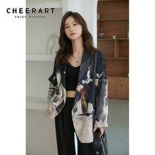 CHEERART – Blazer à la mode pour femmes, imprimé Patchwork rayé, manteau de styliste, ample, automne et printemps, 2020