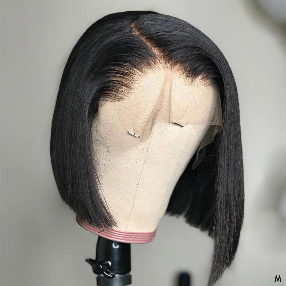 Short Lace Front Human Hair Wigs Bob Wig For Black Women Brazilian Natural Straight Afro Swiss Lace Frontal Wig Pre Plucked