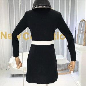 Image 5 - ALPHALMODA Mùa Thu 2019 Pháp Mới Cổ V Dài Tay Và Đầm Dệt Kim Nữ Eo Thon Giả Bỏ Túi Thời Trang Bộ Trang Phục