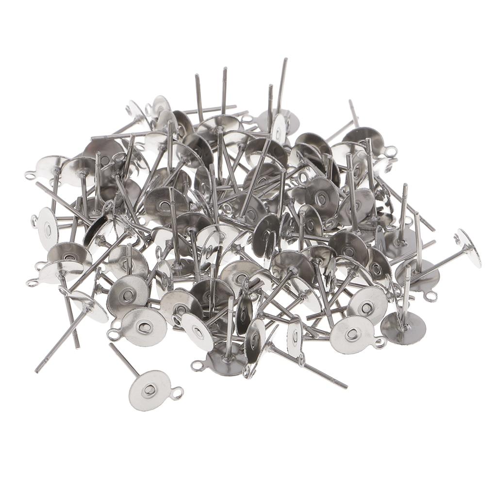 Accessoires boucle d/'oreille support fimo avec plateau 100 pièces 6 mm