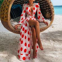Lato elegancka czerwona Polka Dot kostiumy kąpielowe Cape Kaftan długa sukienka Low-cut tunika narzuta na kostium kąpielowy plaża wakacje panie Pareo tanie tanio swvwvif Poliester Stretch Spandex NYLON Zwierząt Młody styl Osób w wieku 18-35 lat Pasuje mniejszy niż zwykle proszę sprawdzić ten sklep jest dobór informacji