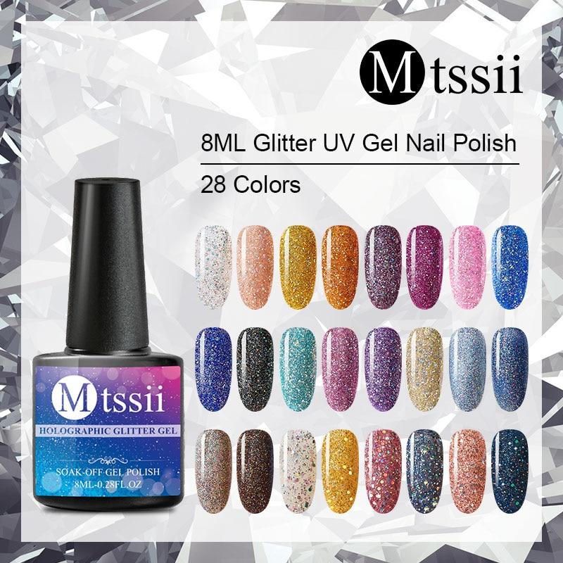 Mtssii For Sale 8ML Nail Polish Holographic Glitter Platinum UV Nail Gel Polish Shine Shimmer Manicure Soak Off Nail Art Varnish