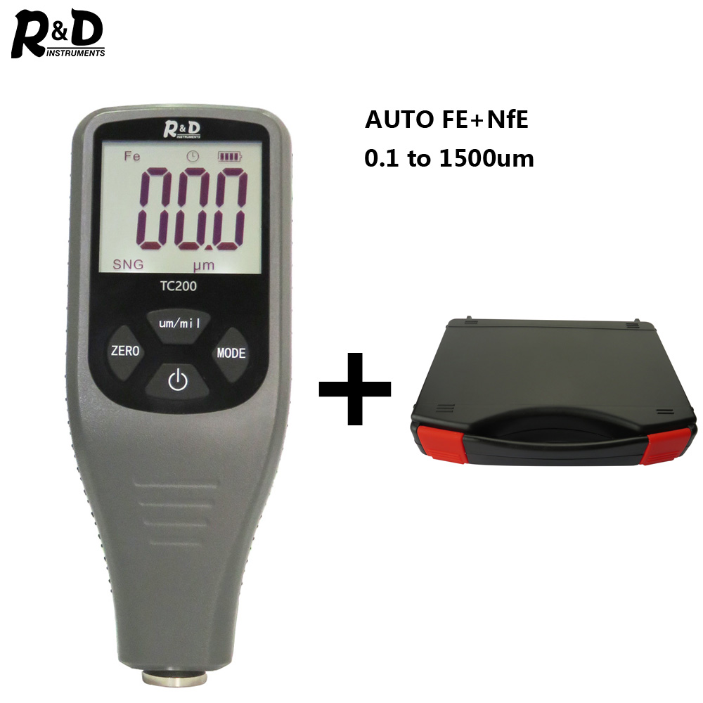 R&D TC200+Case Coating Thickness Gauge 0.1um/0-1500 Car Paint Film Thickness Tester  FE/NFE Russian Manual Car Body Repair Grey
