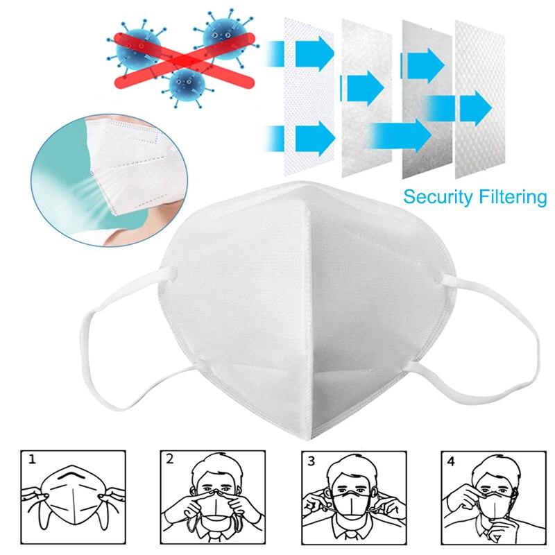 Image 3 - 50 шт. KN95 PM2.5 противотуманная Пыленепроницаемая защитная  маска для лица анти туман 5 слоев фильтрующая маска для рта нетканые  защитные маски от пыли N95Маски