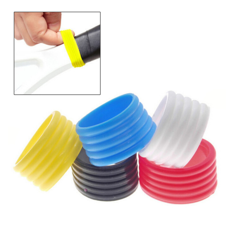 5 Pcs/pack Practical Tennis Racket Handles Stretchy Rubber Ring Durable Silicone Tennis Racket Grip Ring Overgrip Ring Protector