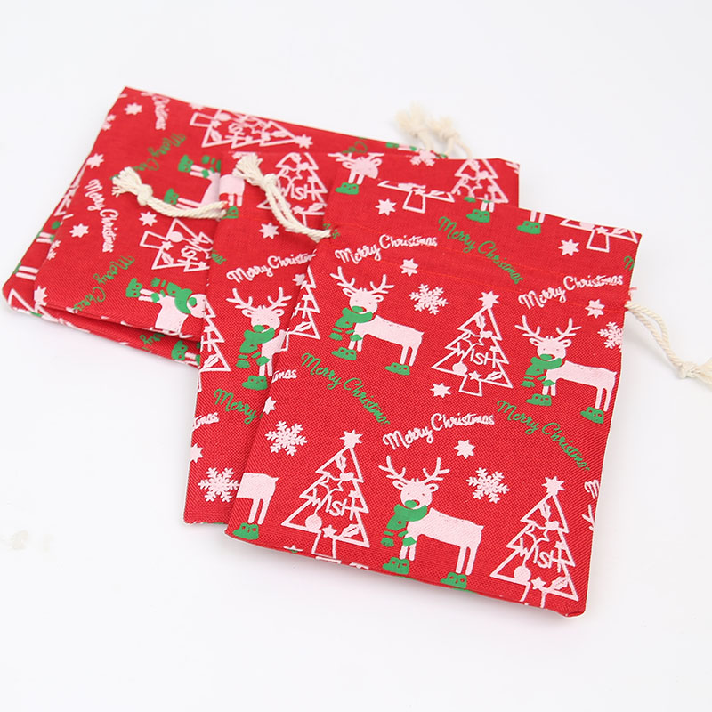 13 * 18Cm Christmas Tree Offset Printed Gift Bag Holiday Gift Storage Bag 100Pcs Jewelry Imitation Linen Drawstring Bag