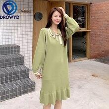 Plus Size Fashion Black Knit Midi Dress Women Autumn Bohemian Casual Loose Long Sleeve Green Dress Elegant Club Party Dresses plus size long sleeve ribbed jumper casual knit dress