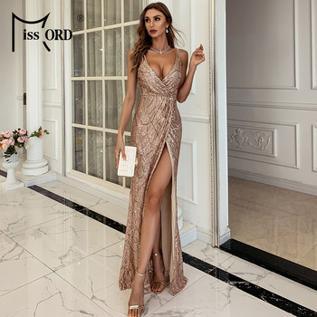 Missord Women Sexy V neck Sequin Spaghetti Strap Dress Backless High Split Maxi Dress Summer Evening Party Dress Vestido M0799-1 missord 2020 women sexy deep v neck backless sequin dress women sleeveless maxi dress bodycon evening party dress vestido m0449