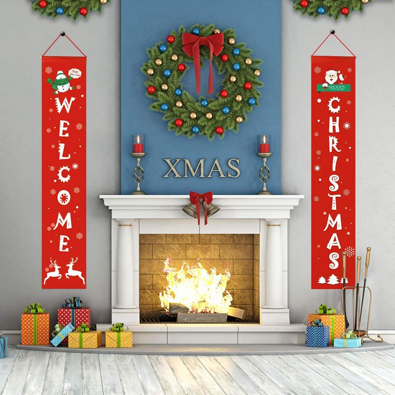 Счастливого Рождества баннеры, передняя дверь Добро пожаловать рождественское крыльцо баннеры красный крыльцо знак Висячие рождественские украшения для дома стены в помещении