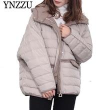 YNZZU 2019 Winter Hooded Long sleeve Women Down coat Loose oversize Pocket Short