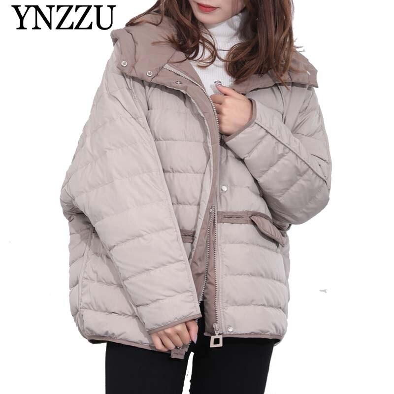 YNZZU 2019 Winter Hooded Long sleeve Women   Down     coat   Loose oversize Pocket Short   Down   overcoat Warm Female   Down   Jacket YO915