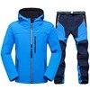 Men New Hiking Jacket Set Trekking Fishing Camping Climbing Trousers Outdoor Waterproof Soft shell Jacket and Pants Plus Size