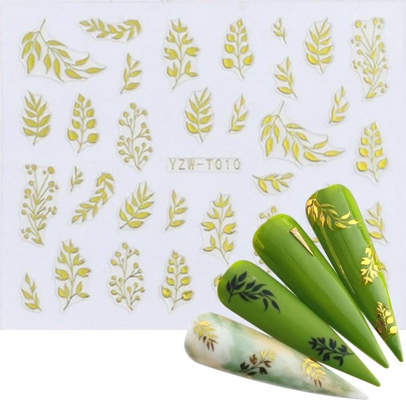 1pc Nail Foil Slider 3D Sticker Black Gold Plant Leaf Flowers Decals For Manicure Wrap Flake Nail Art Accessories