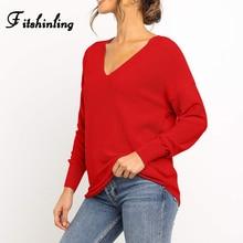 цены на Fitshinling V Neck Basic Sweaters For Women Autumn Winter Long Sleeve Solid Pull Femme Knitted Jumper Boho 2019 Pullovers Sale в интернет-магазинах
