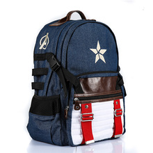 2019 Student Satchel School Knapsack Big Capacity 5 Star Strip Backpack Captain Shield Backpack Unisex School Bag Men Backpack