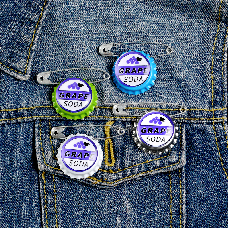 Grape Soda Bottle Caps Pin Carl Japanese Anime Cartoon Movie Badge Jewelry Brooches Denim Shirt Lapel Safe Pins For Kids Gifts 5