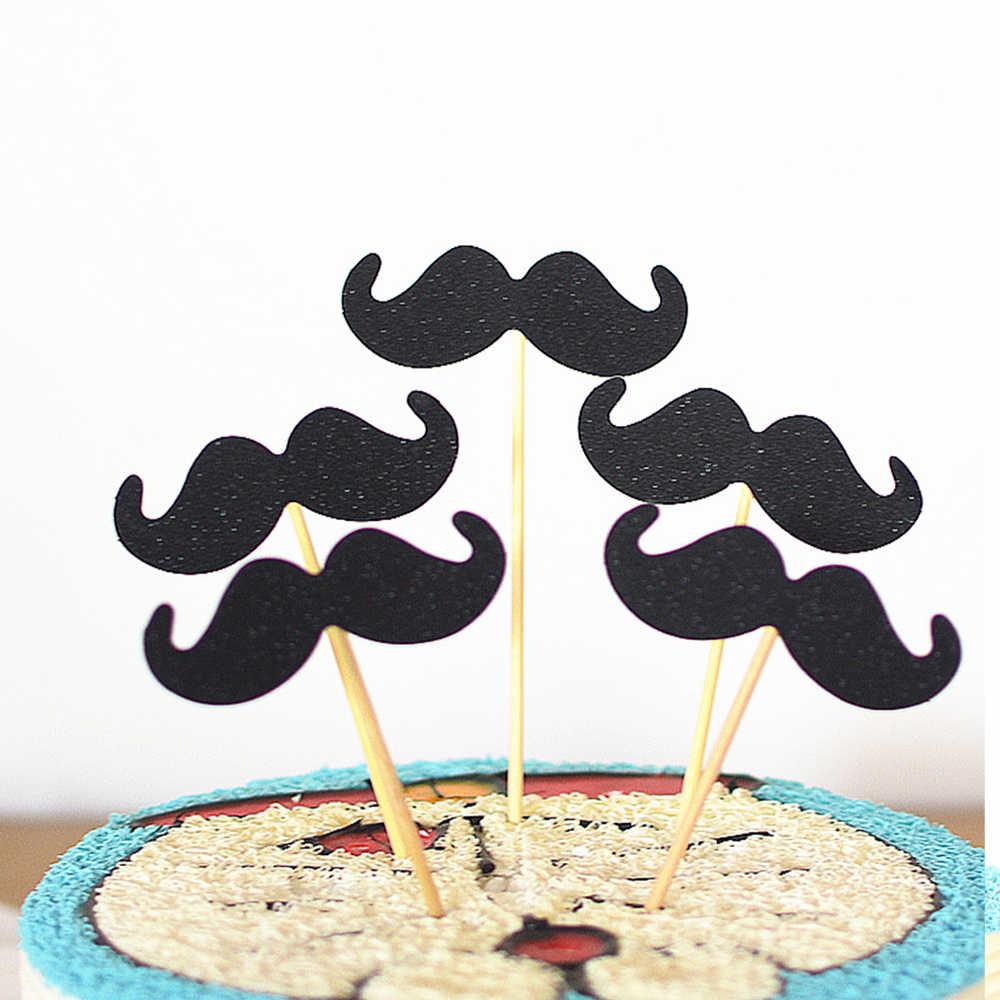 5 adet kek bayrağı takılı kart bıyık papyon kek dekorasyon düğün doğum günü partisi malzemeleri siyah