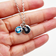 A-Z Letter Necklace Silver Alphabet Pendant Necklace For Women Jewelry Rhinestone Birthstone Alloy Pendant Necklace