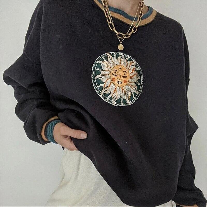 Algodão preto do vintage eua padrão de sol moletom feminino crewneck solto designer de grandes dimensões casuais adolescentes meninas 2021 outono pullovers