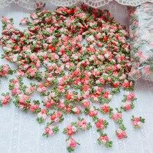 100 шт. 1,6 см Ширина красного и зеленого цвета с цветочным орнаментом и вышивкой, украшенных кружевом аппликация патчи обрезки швейные принад...