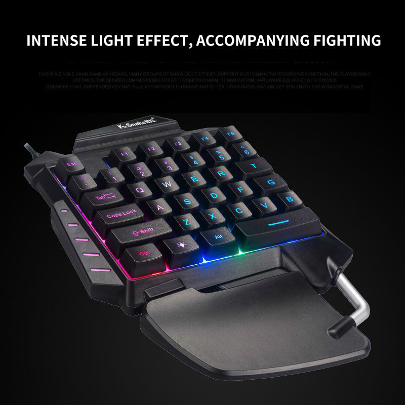 Image 4 - One Handed Mechanical Gaming Keyboard LED Backlight Portable Mini Gaming Keypad Game Controller For PC PS4 Xbox GamerKeyboards   -