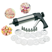 Cookie Decorating Gun Stainless Steel Cookie Press with 13 Discs and 7 Icing Tips Baking Cookie Biscuit Moulds Tools