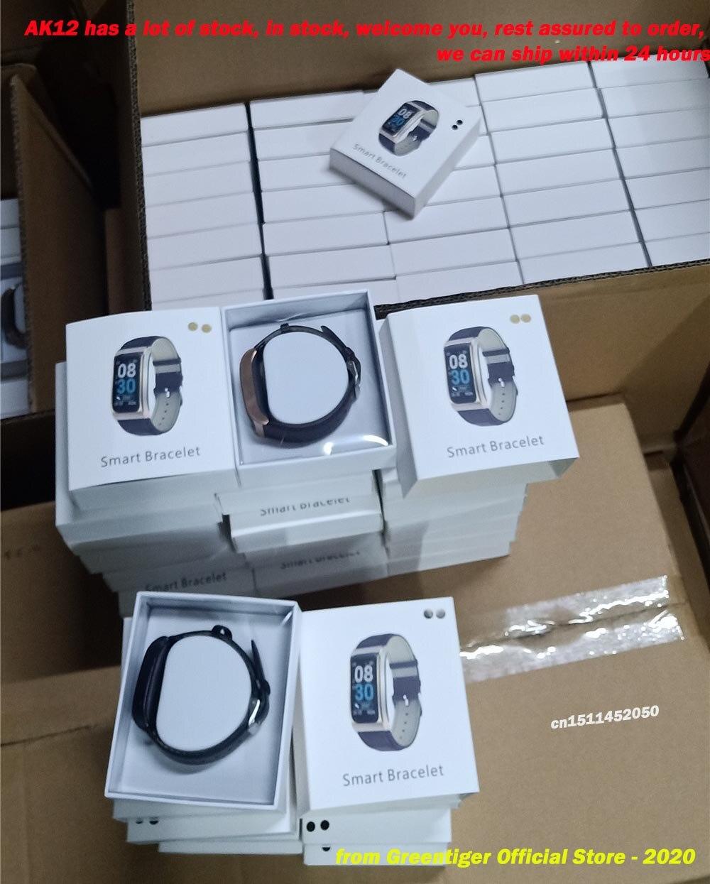 Hf36f22a67cde4ec486b54290a559244fn Greentiger AK12 Smart bracelet Men Women IP68 Waterproof Blood Pressure menstrual cycle monitor Fitness Tracker Smart band