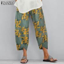 ZANZEA pantalones de verano para mujer, pantalones con estampado Floral de cintura elástica, pantalones bombachos con pernera ancha, pantalones sueltos de talla grande, ropa de calle