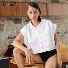Bclout bianco manica corta abbottonatura camicia camicetta donna estate allentato Casual donna top girare verso il basso colletto ufficio tunica femminile