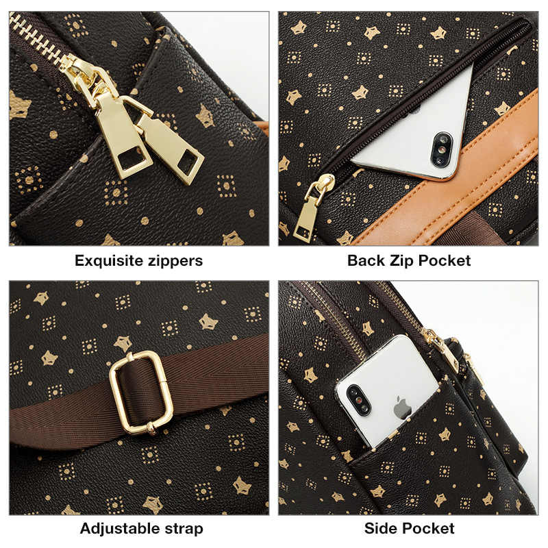 FOXER kobiety podpis druk pcv modny plecak damski plecak podróżny żeński Retro Monogram Laptop biznesowy plecak