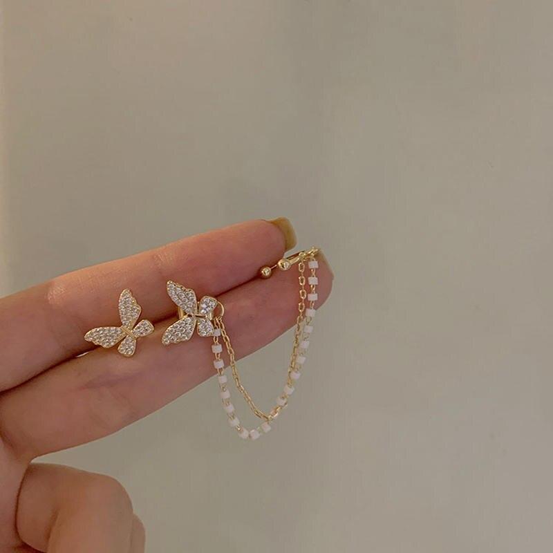 MENGJIQIAO Korean Elegant Cute Rhinestone Butterfly Stud Earrings For Women Girls Fashion