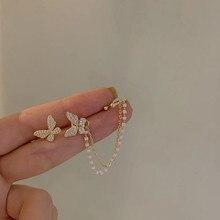 MENGJIQIAO – boucles d'oreilles papillon en strass pour femmes et filles, élégantes, coréennes, mignonnes, à la mode, chaîne en métal, bijoux