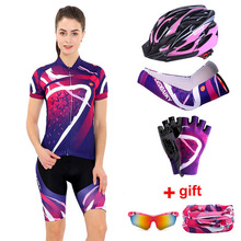 Conjunto de roupas de ciclismo feminino 2020 verão pro equipe mtb bicicleta roupas senhoras conjuntos de camisa de ciclismo anti uv capacete da bicicleta punhos luvas