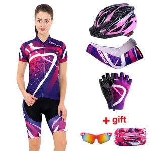 Image 1 - Donne Abbigliamento Ciclismo Set 2020 Estate Pro Team MTB Bike Vestiti Delle Signore Cycling Jersey Set Anti Uv Casco Da Bicicletta Polsini Guanti