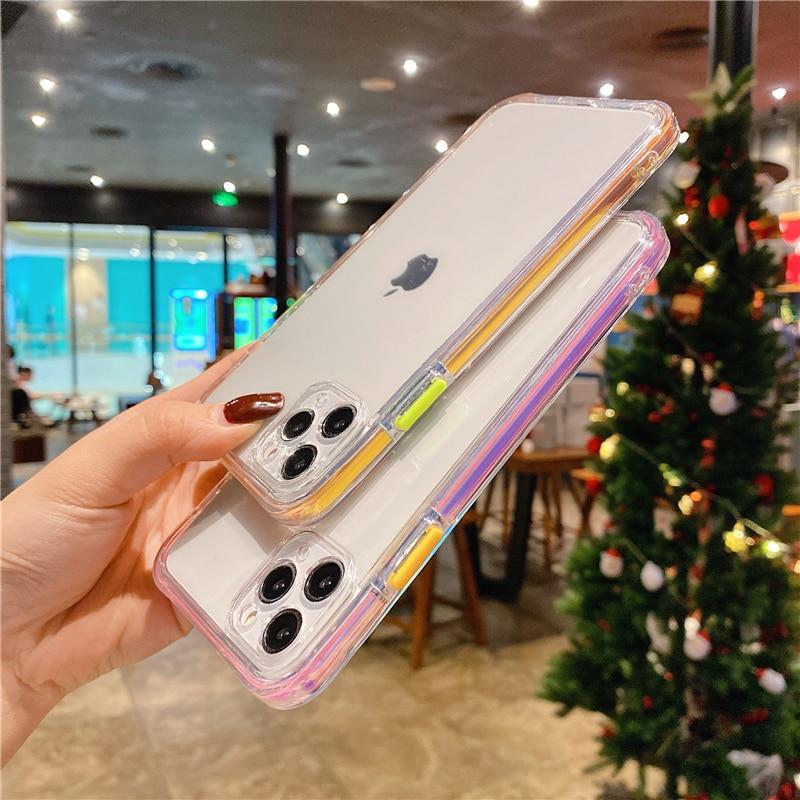 Funda de teléfono de lujo con marco láser para iPhone, carcasa transparente a prueba de golpes para iPhone 11 Pro 12 Pro Max XS Max 7 8 Plus 12 Mini X XR SE 2020 4