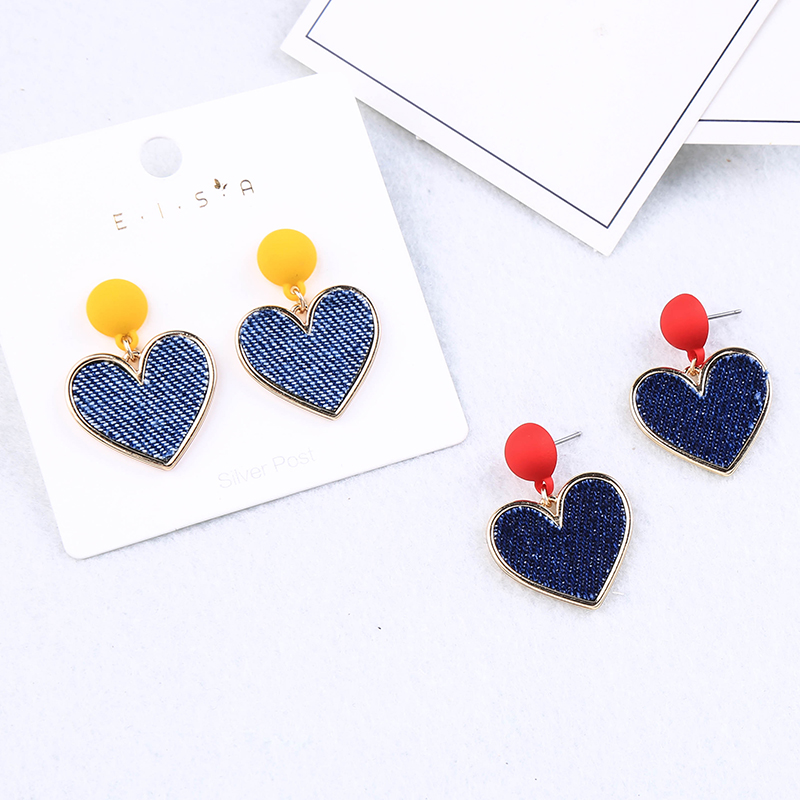 Fashion Simple Design Fashion 2 Color Cloth Heart Stud Earring For Women Handmade Jewelry Free Shipping