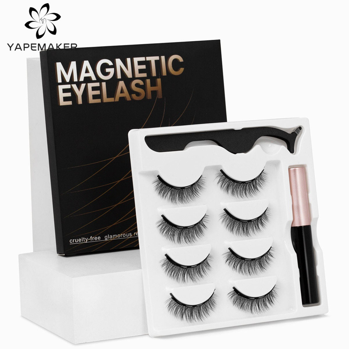 YAPEMAKER Magnetic Eyelashes 3D False Mink Eyelashes Magnet Lashes Magnetic Eyeliner&Tweezer Set Makeup pestañas magneticas