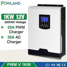 Onduleur solaire à onde sinusoïdale Pure 1kw 12V 220V, hybride, 50a PWM intégré, contrôleur de Charge solaire, batterie